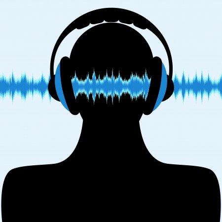 the sound of waves: man silhouette with headphone and sound waves