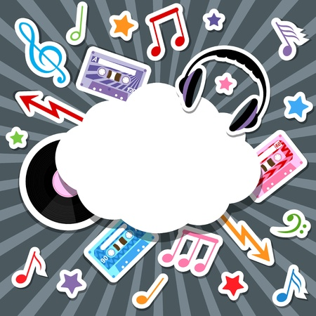 music elements with speech bubble Vector