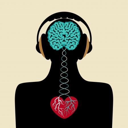 hartje cartoon: man silhouet met de hersenen en het hart Stock Illustratie