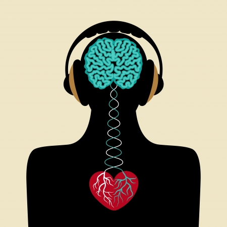 man silhouette with brain and heart Ilustrace