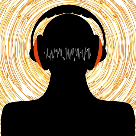 man silhouette with headphones Stock Vector - 16259603