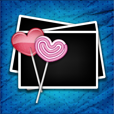 two sugar hearts with photo frames Vector