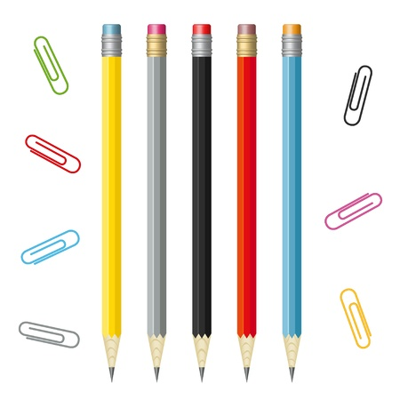 set of colorful pencils and paperclips Stock Vector - 16814386