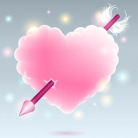 love cloud: pink heart with arrow