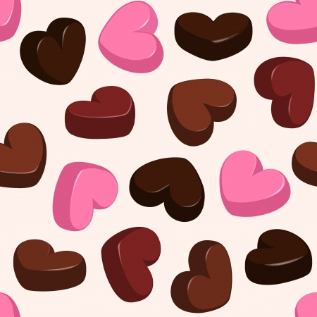 seamless pattern with chocolate hearts Vector