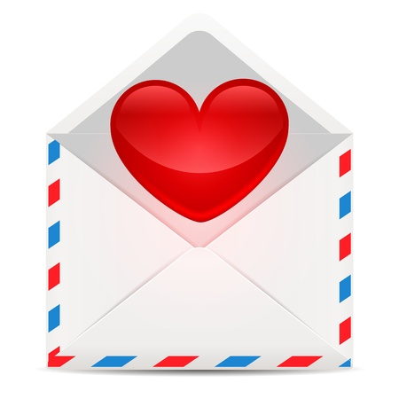 red heart with envelope Vector