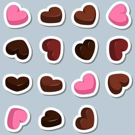 set of chocolate hearts Vector