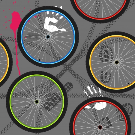 seamless pattern with bicycle wheels Vector
