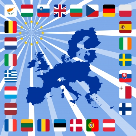 27 icons of european union with map Vector
