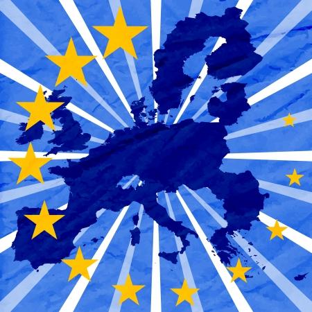 유럽: 유럽 연합 (EU)의지도 파란색 배경