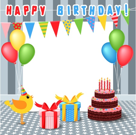 frame with birthday elements Vector
