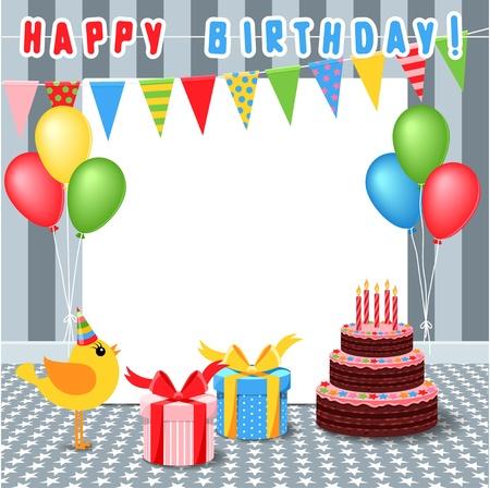 torte compleanno: telaio con elementi di compleanno
