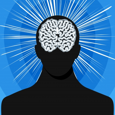 man silhouette with brain Vector