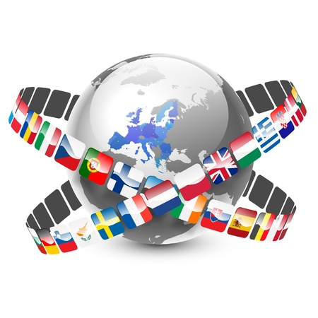 european map: globe with 28 european union countries and flags Illustration