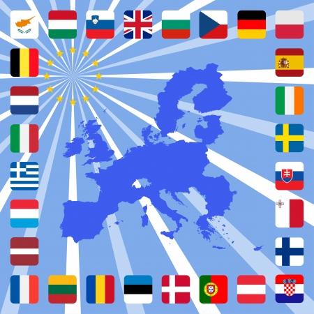 eu flag: 28 icons of european union with map