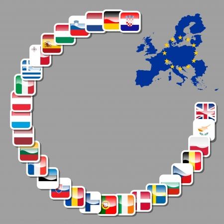 mapa europa: 28 iconos de la uni�n europea