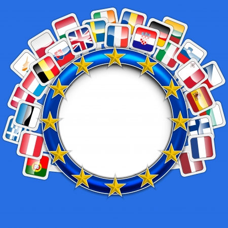 croatia flag: 28 flags of european union vector Illustration