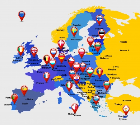 european countries: map of EU with 28 icons