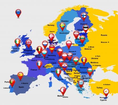 eu: map of EU with 28 icons