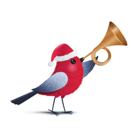 a red bird blowing a trumpet