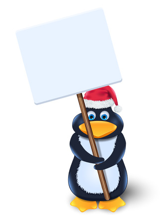penguin with blank sign Vector