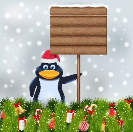 penguin with blank wooden sign Vector