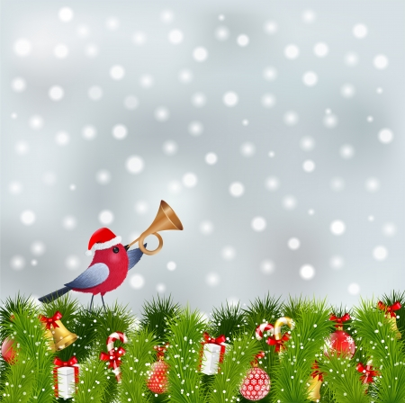 bird with red hat and christmas elements Vector