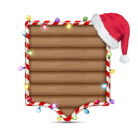 christmas hat: empty wooden frame with santa claus hat