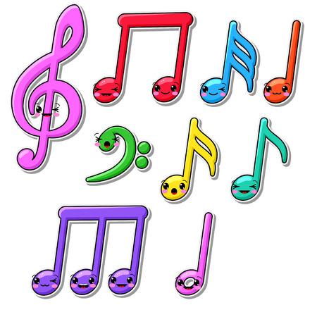 note musicale: raccolta di note musicali kawaii Vettoriali