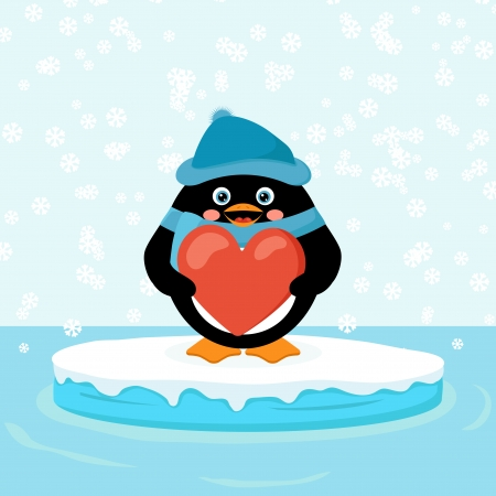 penguin with red heart Stock Vector - 25472808