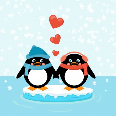 two penguins on ice floe with hearts Vector