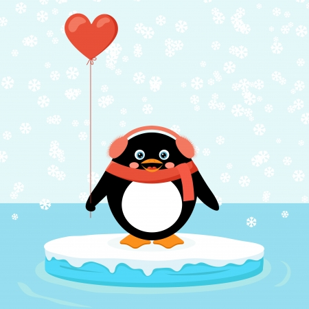 penguin on ice floe Vector