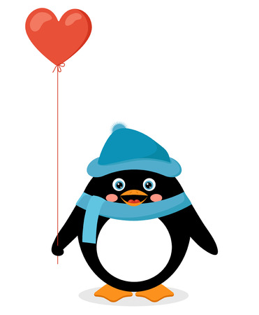penguin with red heart balloon Vector