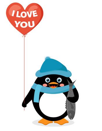 palloncino cuore: pinguino con palloncino cuore rosso e pesce Vettoriali