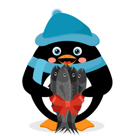 penguin with fish Stock Vector - 25857499