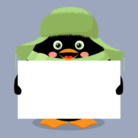 penguin with empty banner Vector