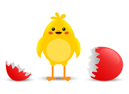 Cracked egg with cute little chicken Vector