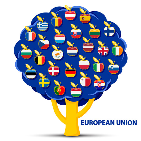 tree with european union flags apples Illustration