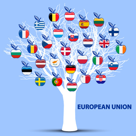white tree with european union flags apples Vector