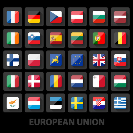 set of european union flags icons Vector