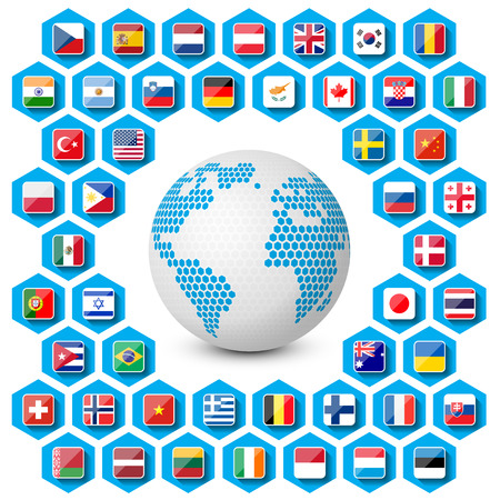 vector set of flag icons with globe Illustration