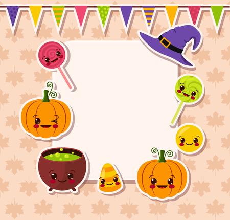 kawaii Halloween symbols with frame Vector