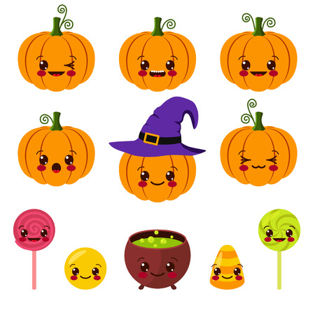 kawaii Halloween symbols Vector