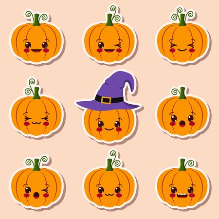 kawaii halloween pumpkins Vector