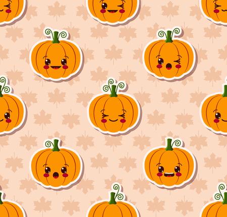 kawaii Halloween seamless pattern Vector