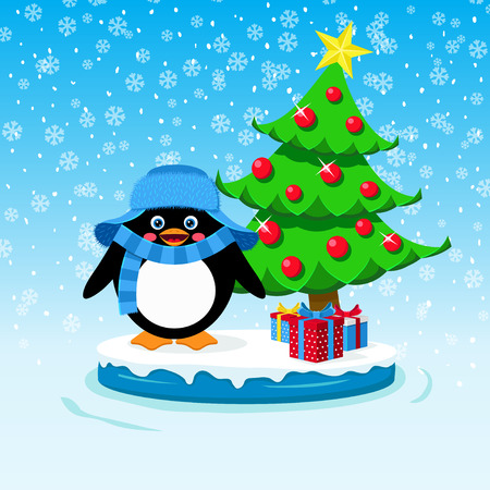 Cute penguin with gift boxes and Christmas tree Vector