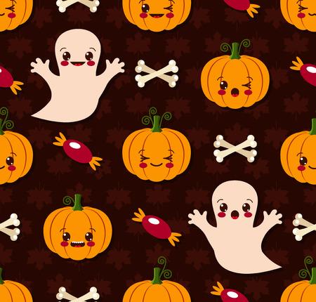 Vector illustration of Halloween seamless pattern with cute kawaii Vector