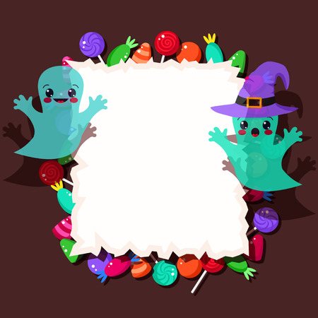 colorful candies and cute Halloween ghosts with frame Vector