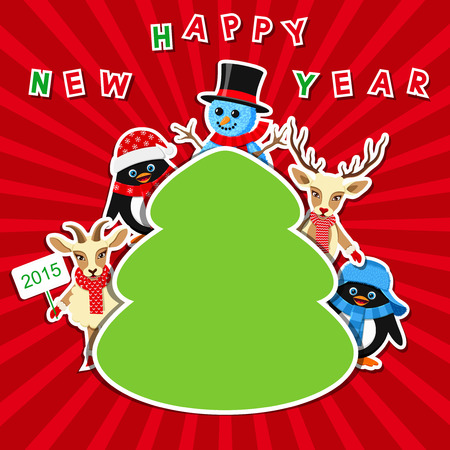 Christmas Tree as frame with cute characters Vector