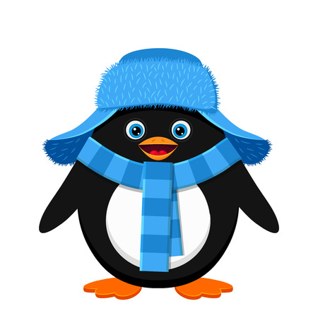 Cute penguin in blue hat